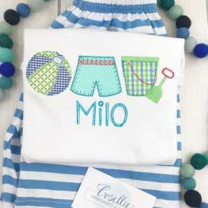Boy beach Trio embroidery design, Boy summer embroidery design, swimsuit, Beach pail, Beach ball, pool, beach, Spring embroidery design, Vintage stitch embroidery design, Applique, Machine embroidery design, Blanket stitch, Beanstitch, Vintage