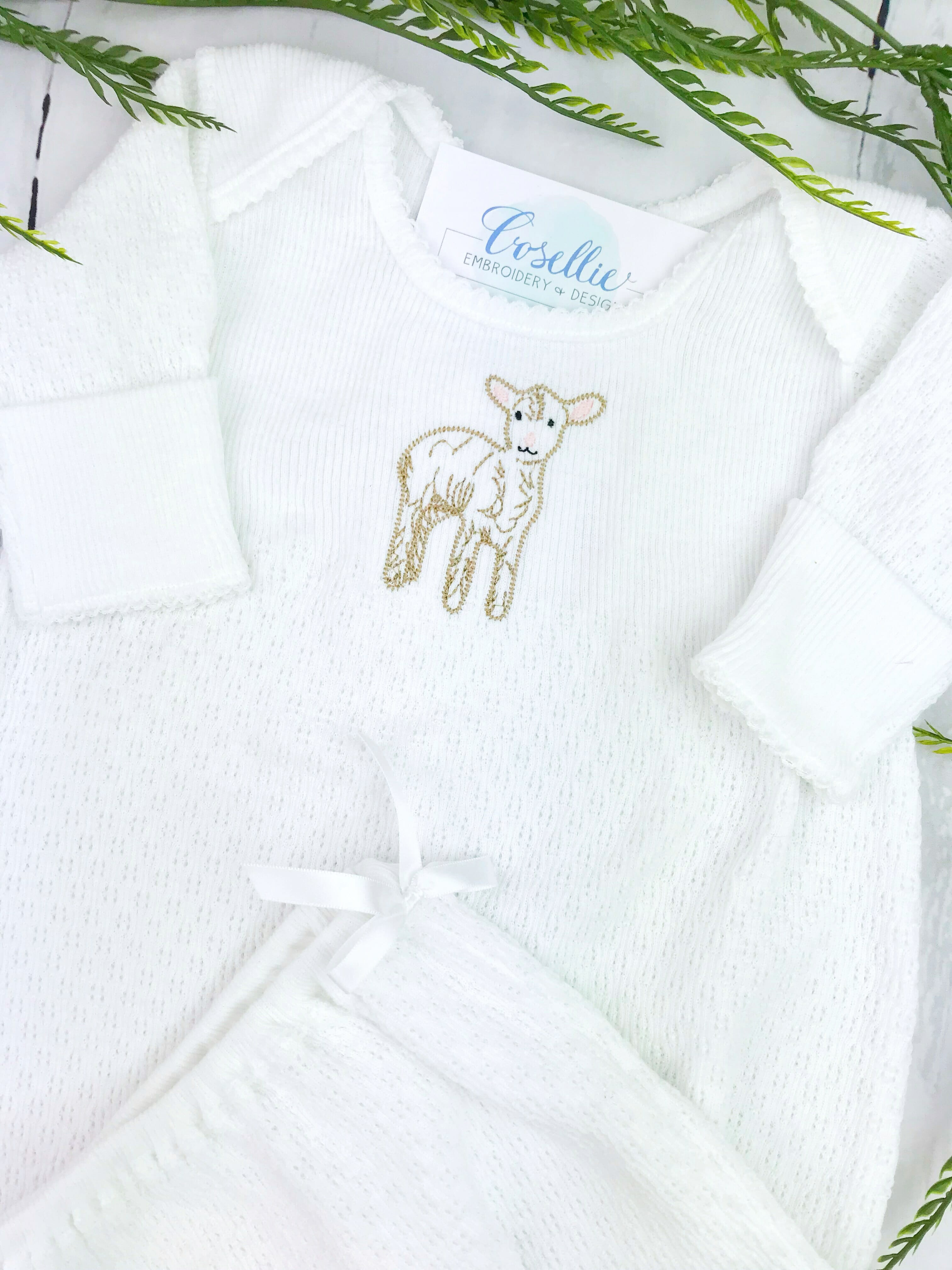 Lamb Paty gown | Monogrammed baby gown | Cosellie