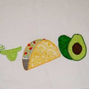 Taco drink trio embroidery design, Mexican embroidery design, Margarita, Avocado, Cinco de Mayo, Fiesta, Mexico, Party, Vintage stitch embroidery design, Applique, Machine embroidery design, Blanket stitch, Beanstitch, Vintage