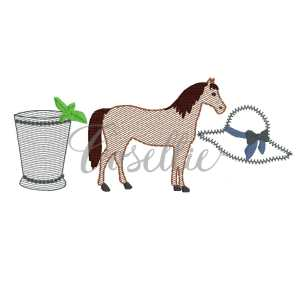 Horse derby girl quick stitch embroidery design, Kentucky derby, Horse embroidery design, Mint julep, Hat, Jockey shirt, Horse racing, Vintage stitch embroidery design, Applique, Machine embroidery design, Blanket stitch, Beanstitch, Vintage