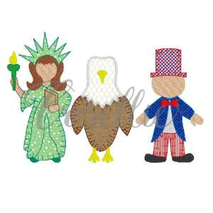 Patriotic trio embroidery design, Statue of Liberty, Uncle Sam, Eagle, Vintage America, United States of America, United States, USA, July 4th, Summer, Fourth of July, Memorial Day, Vintage stitch embroidery design, Applique, Machine embroidery design, Blanket stitch, Beanstitch, Vintage