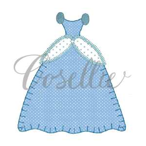 Princess dress embroidery design, Princess embroidery design, Cinderella, Disney, Dress, Vintage stitch embroidery design, Applique, Machine embroidery design, Blanket stitch, Beanstitch, Vintage
