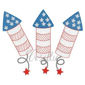 Firecracker rockets embroidery design, Vintage rockets, Vintage firecrackers, July 4th, Summer, Fourth of July, Memorial Day, Vintage stitch embroidery design, Applique, Machine embroidery design, Blanket stitch, Beanstitch, Vintage
