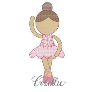 Ballerina embroidery design, Ballerina, Ballet, Girl, Vintage stitch embroidery design, Applique, Machine embroidery design, Blanket stitch, Beanstitch, Vintage