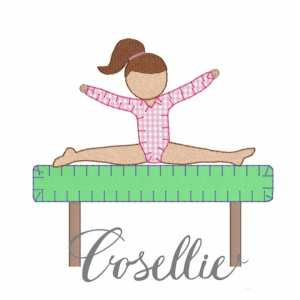 Gymnast embroidery design, Gymnastics, Girl, Gymnast applique, Vintage stitch embroidery design, Applique, Machine embroidery design, Blanket stitch, Beanstitch, Vintage
