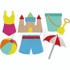 Mini beach build your own embroidery design, Mini beach, Girls swimsuit, Sandcastle, Beach pail, Beach ball, Boys swimsuit, Beach umbrella, Vintage stitch embroidery design, Applique, Machine embroidery design, Blanket stitch, Beanstitch, Vintage, Classic