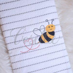 Valentines bee embroidery design, Heart bee, Valentines bee mine, Vintage stitch embroidery design, Applique, Machine embroidery design, Blanket stitch, Beanstitch, Vintage