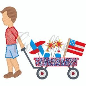 Patriotic boy wagon applique embroidery design, boy wagon, Flag, American flag, Fireworks, Patriotic, Pinwheel, July 4th, Memorial Day, Wagon, July 4th wagon, 4th of July wagon, Memorial day wagon, Patriotic wagon, little boy, baby boy, Vintage stitch embroidery design, Applique, Machine embroidery design, Blanket stitch, Beanstitch, Vintage, Classic