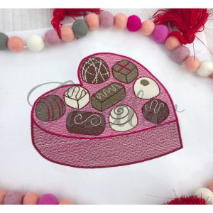 Box of chocolates embroidery design, Valentines chocolates design, Chocolates, Vintage stitch embroidery design, Applique, Machine embroidery design, Blanket stitch, Beanstitch, Vintage