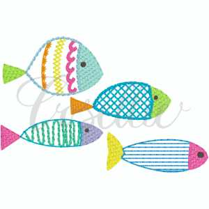 Colorful fish embroidery design, Sketch fish, Fish, Under the sea, Water, Ocean, Summer, Beach, Spring, Vintage fish, Vintage stitch embroidery design, Applique, Machine embroidery design, Blanket stitch, Beanstitch, Vintage, Classic