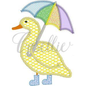 Duck in boots embroidery design, Vintage duck, Spring, Rainboots, Umbrella, Easter, Vintage stitch embroidery design, Applique, Machine embroidery design, Blanket stitch, Beanstitch, Vintage