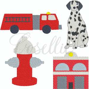 Firehouse minis embroidery designs, Mini Dalmatian, Mini fire hydrant, Mini fire house, Mini firetruck, Fire, Build your own, Vintage stitch embroidery design, Applique, Machine embroidery design, Blanket stitch, Beanstitch, Vintage, Classic, Sketch