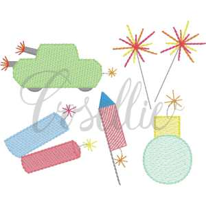Fireworks build your own embroidery design, Mini Fireworks, sparklers, tank, bomb, firecrackers, July 4th, Vintage Memorial Day, Patriotic, Fireworks, Vintage stitch embroidery design, Applique, Machine embroidery design, Blanket stitch, Beanstitch, Vintage