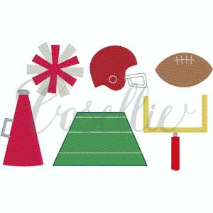 Football minis embroidery designs, Football, Goal post, Helmet, Megaphone, Cheerleader, Pom, Pom poms, Field goal, Football field, Football helmet, Vintage, Build your own, Vintage stitch embroidery design, Applique, Machine embroidery design, Blanket stitch, Beanstitch, Vintage, Classic, Sketch