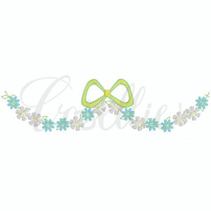 Garland floral bow embroidery design, Floral frame, Bow embroidery design, Vintage bow, Sketch bow, Name frame, Font frame, Name outline, Girly bow, Girl, Applique bow, Vintage bow, Monogram, Vintage stitch embroidery design, Applique, Machine embroidery design, Blanket stitch, Beanstitch, Vintage