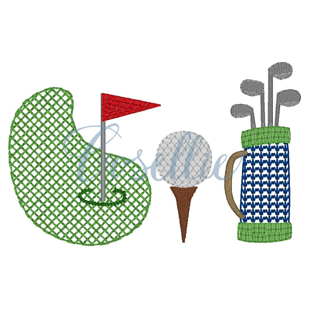 Golf Trio Embroidery Design Embroidery Design Cosellie