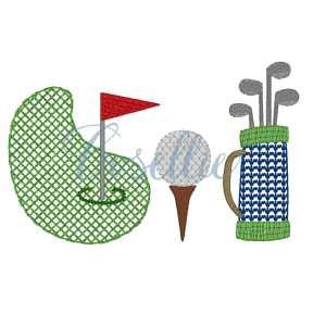 Golf trio sketch embroidery design, Golf embroidery design, Golf, Golf clubs, Golf ball, Golf green, Vintage stitch embroidery design, Applique, Machine embroidery design, Blanket stitch, Beanstitch, Vintage