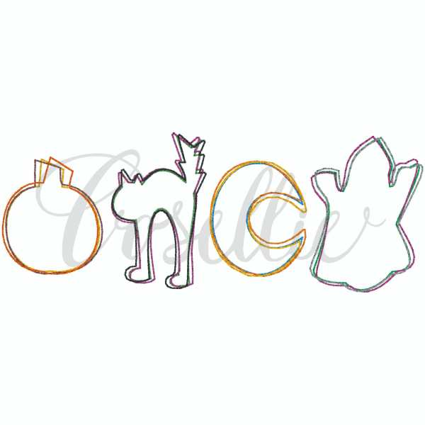 Halloween outline minis embroidery design, Crescent, Moon, Bat, Ghost, Candy, Spider, Broom, Candy corn, Cat, Witch, Pumpkin, Pumpkin applique, Fall pumpkin, Fall design, Quick stitch pumpkin, Halloween, Vintage Thanksgiving, Vintage stitch embroidery design, Applique, Machine embroidery design, Blanket stitch, Beanstitch, Vintage, Classic, Sketch