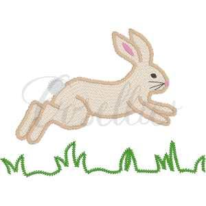Hopping bunny embroidery design, Vintage bunny, Rabbit, Easter eggs, Spring, Easter, Vintage stitch embroidery design, Applique, Machine embroidery design, Blanket stitch, Beanstitch, Vintage