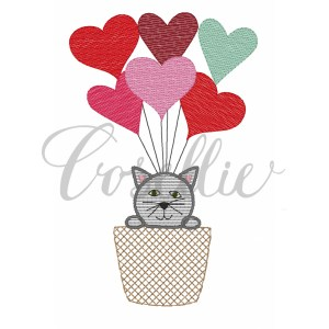 Hot air balloon Valentines cat embroidery design, Valentines hot air balloon, Vintage valentines, Cat, Hearts, Balloon, Hot air balloon, Vintage stitch embroidery design, Applique, Machine embroidery design, Blanket stitch, Beanstitch, Vintage