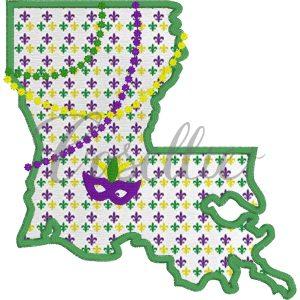 Louisiana Mardi Gras embroidery design, Mardi Gras, Louisiana, New Orleans, Mardi Gras appliqué, Vintage Mardi Gras, Beads, Jester, Vintage stitch embroidery design, Applique, Machine embroidery design, Blanket stitch, Beanstitch, Vintage