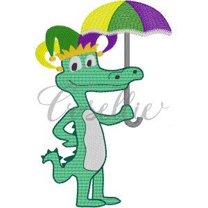 Mardi Gras gator embroidery design, Mardi Gras parade, Vintage stitch embroidery design, Applique, Machine embroidery design, Blanket stitch, Beanstitch, Vintage