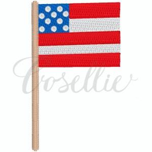 Mini sketch flag embroidery design, American flag, Mini American flag, July 4th, Fourth of July, 4th of July, Memorial Day, Patriotic, Mini flag, Vintage stitch embroidery design, Applique, Machine embroidery design, Blanket stitch, Beanstitch, Vintage, Classic
