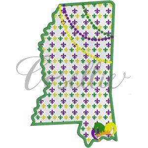 Mississippi Mardi Gras embroidery design, Mardi Gras, Louisiana, New Orleans, Mardi Gras appliqué, Vintage Mardi Gras, Beads, Jester, Vintage stitch embroidery design, Applique, Machine embroidery design, Blanket stitch, Beanstitch, Vintage