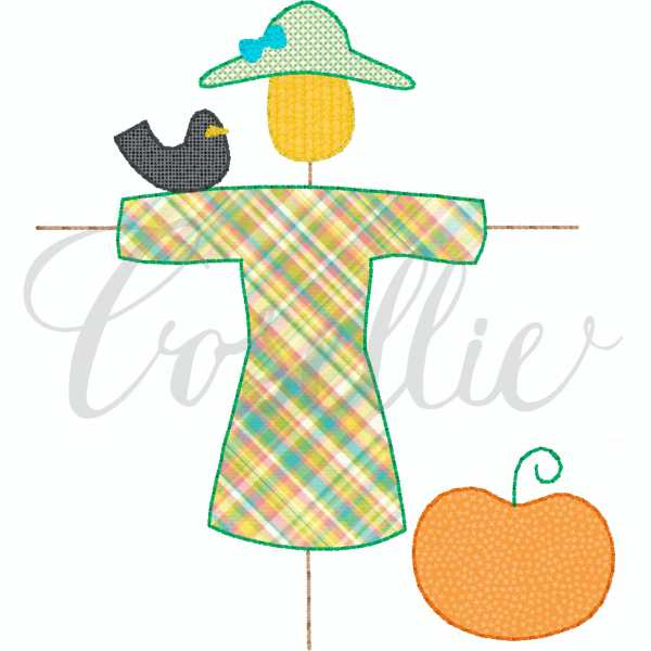 Scarecrow girl applique embroidery design, Simple applique, Girl scarecrow, Fall, Pumpkin, Crow, Thanksgiving embroidery design, Vintage stitch embroidery design, Applique, Machine embroidery design, Blanket stitch, Beanstitch, Vintage, Classic, Sketch