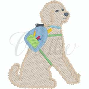 Boy dog with backpack embroidery design, Pencils, Doodle, Crayons, Vintage crayons, Back to school, Vintage stitch embroidery design, Applique, Machine embroidery design, Blanket stitch, Beanstitch, Vintage, Classic