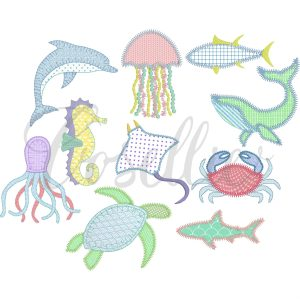 Sea creatures applique embroidery design, Sea animals, Build your own, Crab applique, Dolphin applique, Jellyfish applique, Octopus applique, Seahorse applique, Shark applique, Stingray applique, Tuna applique, Fish applique, Turtle applique, Whale applique, Sea, Summer, Beach, Vintage stitch embroidery design, Applique, Machine embroidery design, Blanket stitch, Beanstitch, Vintage, Classic