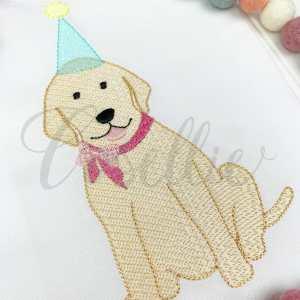 Birthday lab girl embroidery design, Birthday dog, Birthday puppy, Labrador, Puppy dog, Dog, Girl dog, Girl puppy, Boy dog, Boy puppy, Boy, Vintage stitch embroidery design, Applique, Machine embroidery design, Blanket stitch, Beanstitch, Vintage, Classic