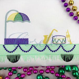 Mardi Gras Float embroidery design, Beads, Mask, Jester hat, Trumpet, Drum, Mardi Gras parade, Vintage stitch embroidery design, Applique, Machine embroidery design, Blanket stitch, Beanstitch, Vintage
