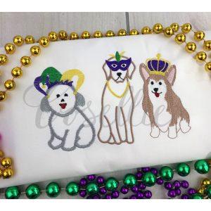 Mardi Gras dogs embroidery design, Mardi Gras, Dogs, New Orleans, Mardi Gras appliqué, Vintage Mardi Gras, Beads, Crown, Bichon Frise, Lab, Corgi, Jester, Vintage stitch embroidery design, Applique, Machine embroidery design, Blanket stitch, Beanstitch, Vintage