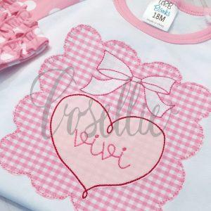 Heart Bow frame embroidery design, Valentines frame embroidery design, Heart applique, Valentines hearts, Hearts and bows, Name frame embroidery design, Font frame, Vintage stitch embroidery design, Applique, Machine embroidery design, Blanket stitch, Beanstitch, Vintage