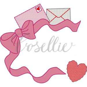 Valentines bow frame embroidery design, Heart applique, Valentines hearts, Hearts and bows, Name frame embroidery design, Font frame, Vintage stitch embroidery design, Applique, Machine embroidery design, Blanket stitch, Beanstitch, Vintage