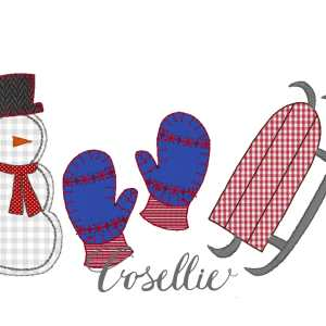 Winter embroidery design, Snowman embroidery design, Sled, Snowman, Mittens, Vintage Christmas, Winter, Vintage stitch embroidery design, Applique, Machine embroidery design, Blanket stitch, Beanstitch, Vintage