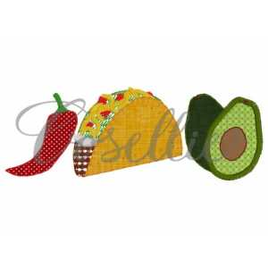 Taco applique trio embroidery design, Mexican embroidery design, Chili pepper, Avocado, Cinco de Mayo, Fiesta, Mexico, Party, Vintage stitch embroidery design, Applique, Machine embroidery design, Blanket stitch, Beanstitch, Vintage