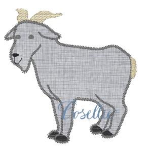 Goat embroidery design, Billy goat, Farm, Vintage stitch embroidery design, Applique, Machine embroidery design, Blanket stitch, Beanstitch, Vintage