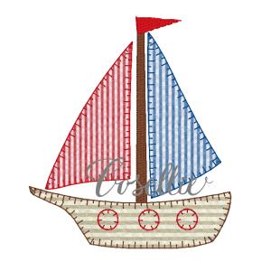 Sailboat applique embroidery design, Sailboat, Boat, Beach, Nautical, Vintage sailboat, Baby, Vintage stitch embroidery design, Applique, Machine embroidery design, Blanket stitch, Beanstitch, Vintage, Boy
