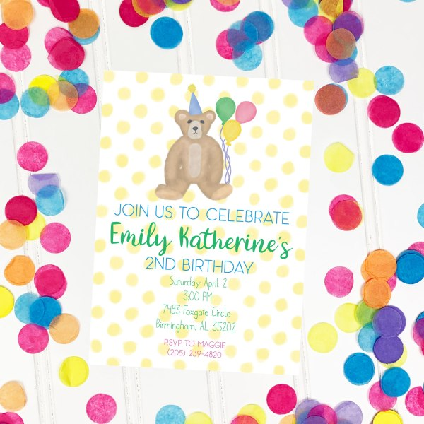 Birthday Teddy yellow invitation, Boy birthday, Girl birthday, First birthday, second birthday, third birthday, fourth birthday, fifth birthday, Birthday invitation, Classic invitation, Classic birthday invitation, Simple invitation, Vintage invitation, Teddy bear invitation, Editable invitation, Print from home invitation, DIY invitation, Invitation template