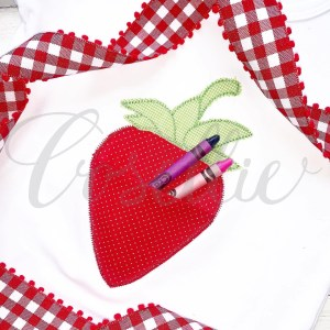 Strawberry pocket embroidery design, Frocket, Strawberry pocket, ITH, ITH strawberry, ITH pocket, In the hoop, Strawberry frame, Fruit, Strawberry, Strawberries, Girl, Monogram, Vintage stitch embroidery design, Applique, Machine embroidery design, Blanket stitch, Beanstitch, Vintage, Classic