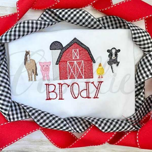 Mini farm animals embroidery designs, Farm animals, Farm, Barn, Chicken, Cow, Dairy cow, Milk cow, Sheep, Goat, Pig, Horse, Vintage, Build your own, Vintage stitch embroidery design, Applique, Machine embroidery design, Blanket stitch, Beanstitch, Vintage, Classic, Sketch