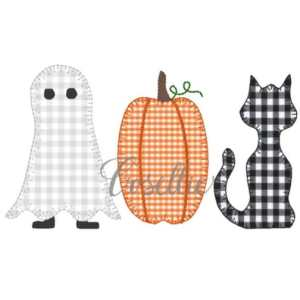 Halloween trio applique embroidery design, Cat, Pumpkin, Ghost, Vintage Halloween, Vintage stitch embroidery design, Applique, Machine embroidery design, Blanket stitch, Beanstitch, Vintage