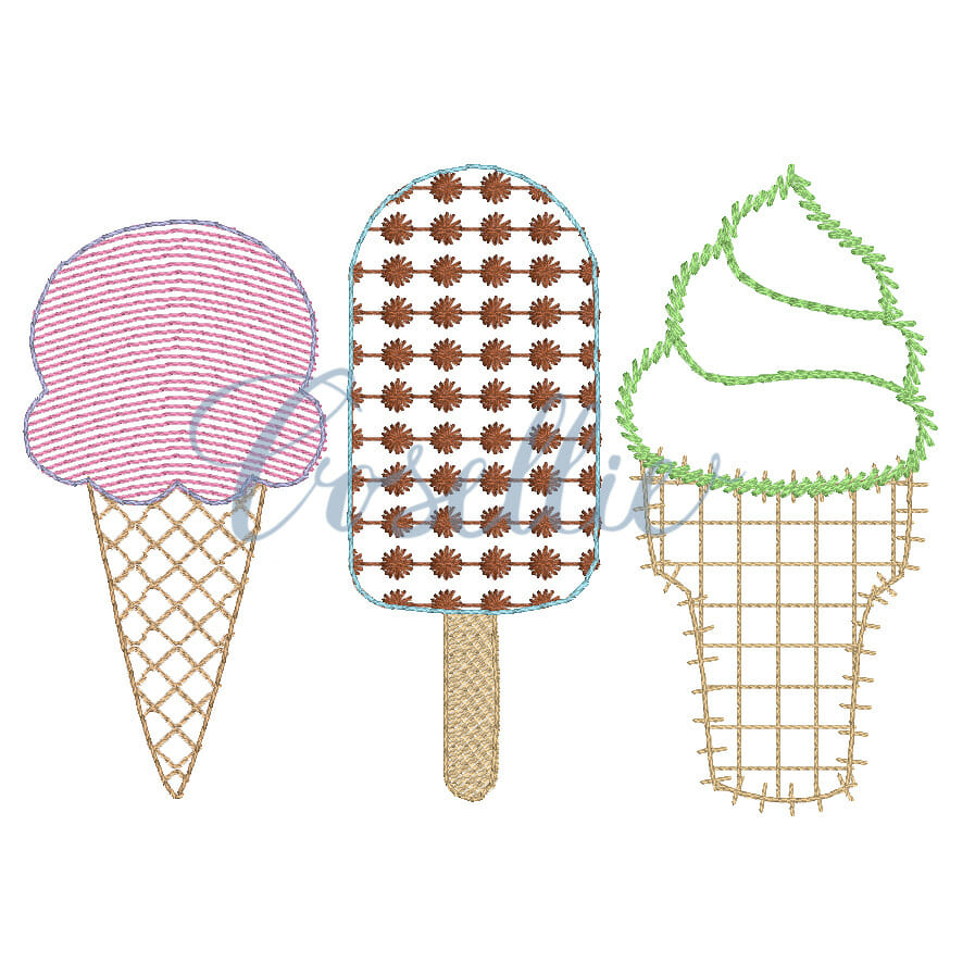 Ice cream quickstitch embroidery design embroidery design cosellie ice cream quickstitch embroidery design ccuart Images
