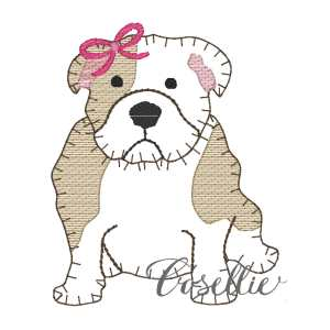 Girl bulldog embroidery design, Football, Bulldog, Mississippi state, Georgia, Vintage stitch embroidery design, Applique, Machine embroidery design, Blanket stitch, Beanstitch, Vintage