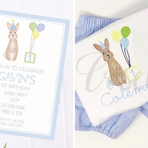 Birthday bunny blue invitation, First birthday, second birthday, third birthday, fourth birthday, fifth birthday, Birthday invitation, Bunny invitation, Editable invitation, Print from home invitation, DIY invitation, Invitation template