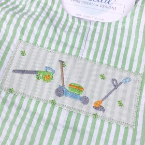 Mini lawn tools embroidery design, Lawn tools, Boy, Lawnmower, Leaf blower, Wheelbarrow, Weed eater, Grass, Spring, Yard work, Yard tools, Vintage stitch embroidery design, Applique, Machine embroidery design, Blanket stitch, Beanstitch, Vintage, Classic