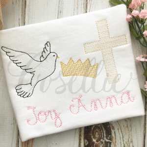 Dove Easter trio embroidery design, Vintage dove, Cross, Crown, Jesus, Easter, Spring, Easter, Vintage stitch embroidery design, Applique, Machine embroidery design, Blanket stitch, Beanstitch, Vintage