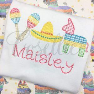 Fiesta trio sketch embroidery design, Pinata embroidery design, Cinco de Mayo, Maracas, Sombrero, Mexico, Party, Vintage stitch embroidery design, Applique, Machine embroidery design, Blanket stitch, Beanstitch, Vintage